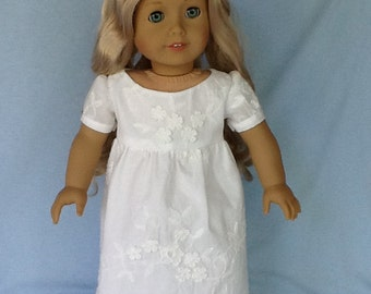 18 inch Regency doll dress. Fits American Girl Dolls. White embroidery.
