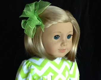 18 inch doll dress and hair clip. Fits American Girl dolls and other 18 inch dolls. Lime Green Chevron print.
