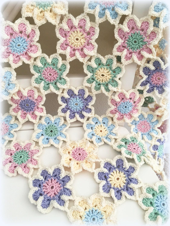 crochet baby blanket bunting pattern vintage blossoms flowers baby blanket crochet nursery. Black Bedroom Furniture Sets. Home Design Ideas