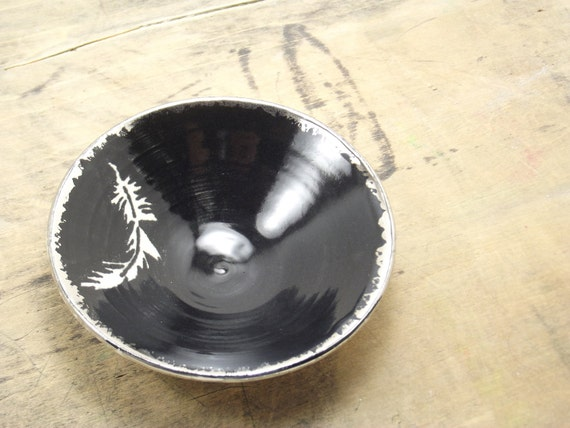 White Feather, Black & Silver Porcelain Small Bowl, Jewelry Dish, Ring Dish, Dipping Bowl