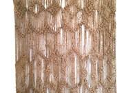 Vintage Jute Macrame Tapestry Wall Hanging Fiber Art Textile Natural Colors Boho Home