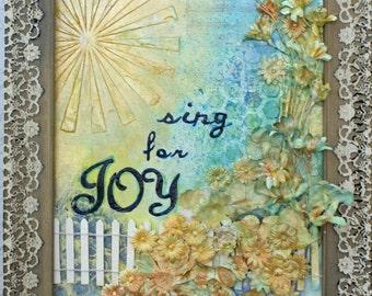 Sing For Joy Handpainted Mixed Media Painting Art 9X12 Framed Shabby Chic