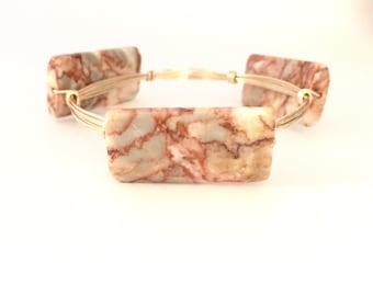 Redline Marble Stone Wire Wrapped Bangle Bracelet