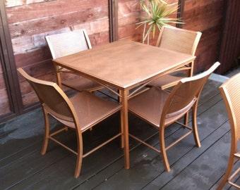 MCM Brown Jordan metal patio table & chairs