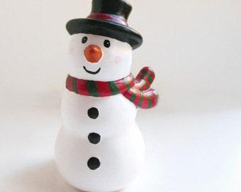 Ceramic Snowman Ornament - Snowman decoration, Christmas snowman decor, snowman keepsake ornament, secret santa gift, gifts under 20