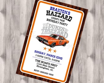 Dukes of Hazzard Birthday Invitation - DIGITAL
