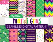 Mardi Gras Seamless Patterns - Scrapbook Digital Paper - 12x12 size, 3600 x 3600 pixels - Pink, Purple, Gold Glitter, Yellow Digital Paper -