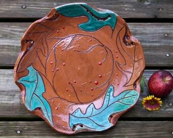 Terracotta Platter, Handmade Platter, Nature Inspired Plate, Wheel Thrown Plate, Earthenware Serving Dish, Wall Decor, Serving dish