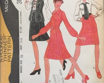 McCall's 3118 Misses' Blouse, Vest and Skirt Pattern, UNCUT, Size 16, Bust 38, Pounds Thinner Pattern, Vintage 1972, Retro, Mod Pattern