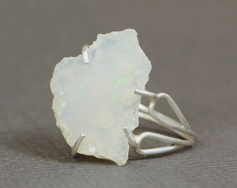 Opal Ring/Size 4.25 Ring/ Gemstone Ring/Crystal Ring/Unique Ring/ Silver Opal Ring/One of a Kind/Raw Opal/Sterling Silver/October Birthstone