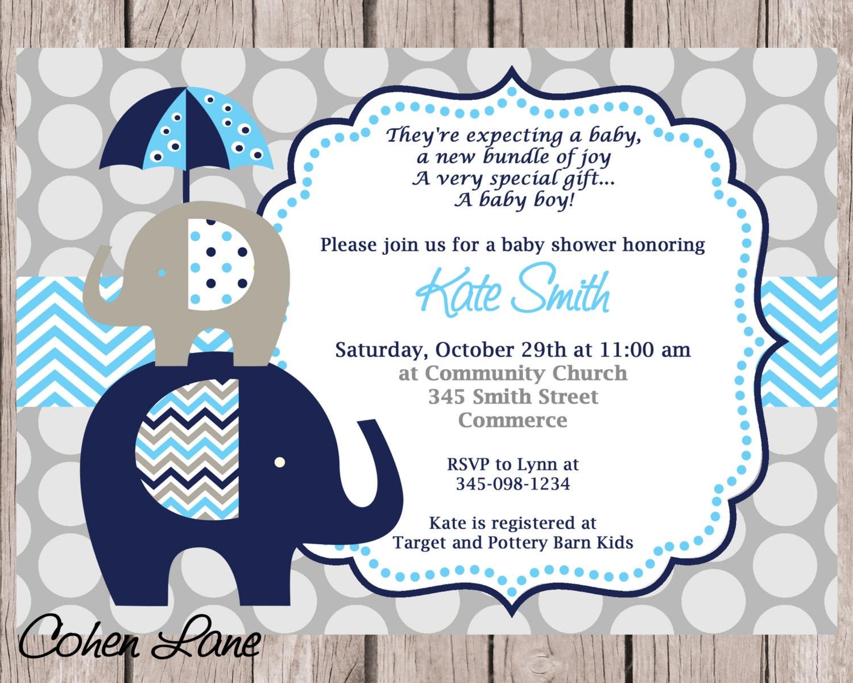 Invitaciones Baby Shower Elefante ~ Blue and navy elephant baby shower invitation printable