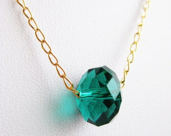 Delicate necklace, gold filled chain with a large teal crystal