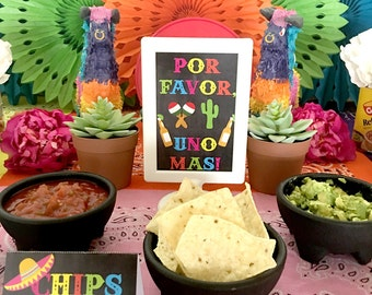 Cinco de Mayo Party Fiesta Party Food Labels Tent Cards PRINTABLE