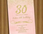 Pink and Gold Birthday Invitation PRINTABLE INVITATION Pink and Gold Shabby Chic Glitter Sparkle 30th Birthday