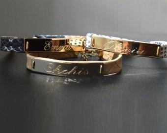 bridesmaid bracelet set of 6 - Personalized bracelet -  Any Name  - goldfield - gold -silver name bracelet -  Leopard leather bracelet
