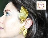 Gold leaf ear cuff ear wrap elven toga whimsical woodland fashion accessory