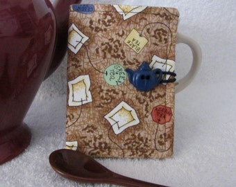 Quilted Tea Wallet Tea Bag Flavor Theme Fabric Blue/Brown Accent Fabric Quilted Tea Leaf Stitch Navy Blue Teapot Button Tea Gift Card Holder