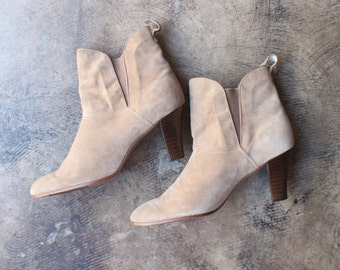 Size 9 Heeled Ankle BOOTS / Tawny Suede Women's Booties / Vintage Leather Shoes