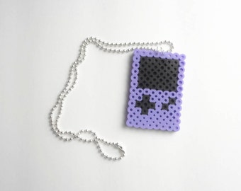 Purple Game Boy Perler Necklace