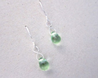 Mint Green Czech Glass Dangle Drop Teardrop Earrings TCJG