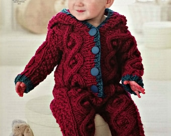 Baby Knitting Pattern K4558 Baby Long Sleeve Roll Collar Cable and Moss Stitch Onesie Knitting Pattern Chunky (Bulky) King Cole