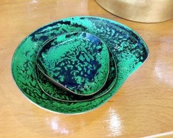 Meka Danish Enamel On Copper Green and Black Dish Bowl Set of 3