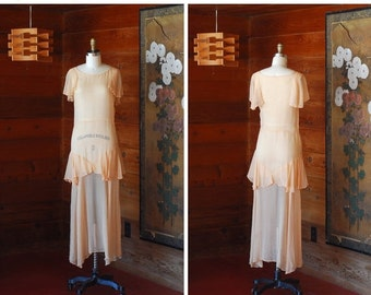 20% OFF FALL SALE / vintage 1930 peach silk dress / size extra small