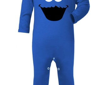Cookie Monster Inspired Baby Rompa Suit