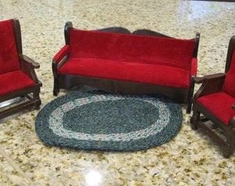 Minature Furniture Dollhouse Sofa, Vintage Shackman Miniature Wooden Dollhouse Furniture rug