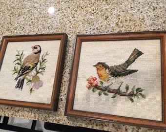 Pair of Needlepoint vintage  bird stichery framed spring rustic look