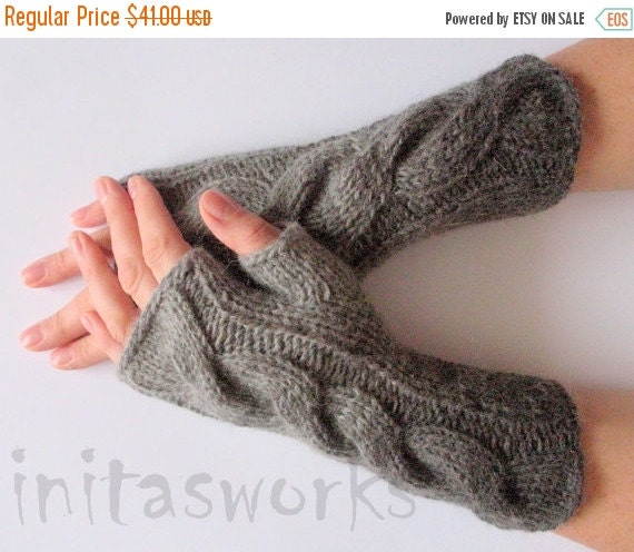 SALE Fingerless Gloves Mittens wrist warmers Gray Dove Black