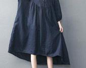 Dark blue oversized loose long dress red large size dresses