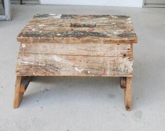 Vintage Wood Step Stool or Foot Stool Rustic Painted