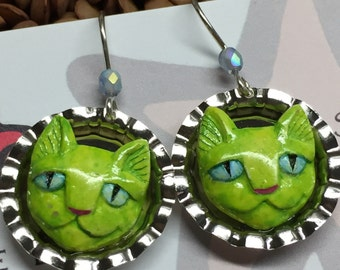 Green like a Lime Polymer Clay Cat Earrings