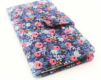 Women's Wallet, Fabric Clutch Wallet, Vegan Wallet, Indigo Floral