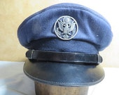 US Air Force 1950s Early Blue Enlisted mans Visor cap Very nice about a Size 7
