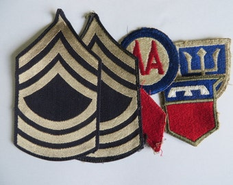 MSGT Rank and ww2 Patch lot, 5th Infantry, 76th Infantry. 97th Infantry and Anti aircraft command Patch