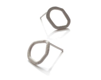grey odd shaped stud earrings, hammered wire powder coated in pale slate grey with surgical stee posts SALE 50% OFF