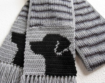 Black Labrador Scarf. Gray stripes, knit scarf with black Labs. Knitted Labrador Retriever dog.
