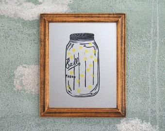 Mason Jar Print - Summer Firefly Lightning Bug Print