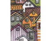 Original Miniature Art ACEO, Colorful Stacked Housing