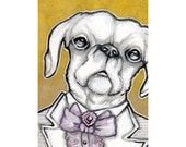 ACEO Original Dog Art, Timothy Peppercorn a Fancy Dog