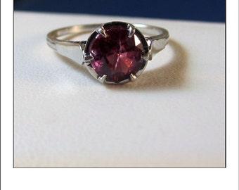 Vintage Platinum 1.57 ct. Rhodolite Garnet Engagement Ring