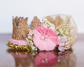 Lace Crown in Pink and Gold - Mini Crown - Baby Lace Crown - Shabby Chic - Alice in Wonderland - M2M Pink Monaco Well Dressed Wolf