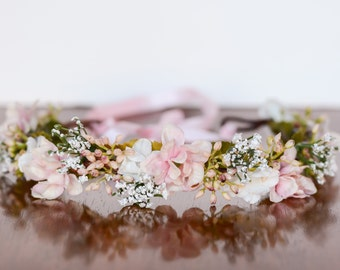 Flower Crown in Pink - Flowergirl hairpiece - Pink Wedding - Newborn Photo Prop - Wedding Crown - Floral Hairpiece