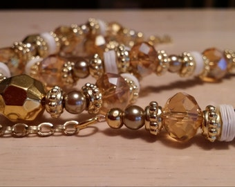 Long gold tone necklace with sequins great for wedding or mothers day birthday big glass cut beads amber