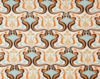"Two  96"" x 50""  Custom Curtain Panels - Damask Glam - Orange/Light Blue/Natural/Brown"