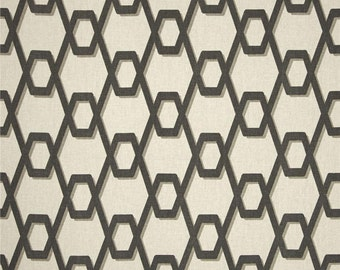 "Two 96"" x 50""  Custom Curtain Panels - Rod Pocket Panels  - Geometric Wired - Grey/Natural"
