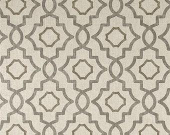 "Two 96"" x50""  Custom Curtain Panels - Trellis Quatrefoil  Grey/Beige"