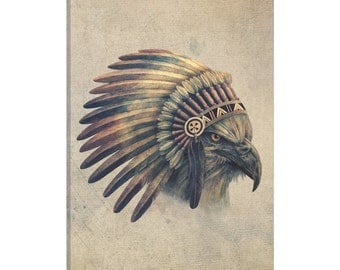 iCanvas Eagle Chief Portrait #2 Gallery Wrapped Canvas Art Print by Terry Fan